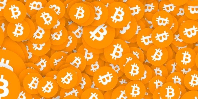 Yellow bitcoin coins